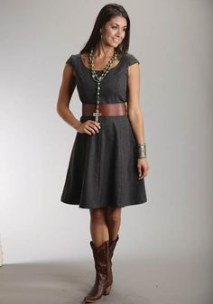 Mobile Women's Grey Wool Blend Cap Sleeve Dress Stetson Ladies Collect Western Clothing