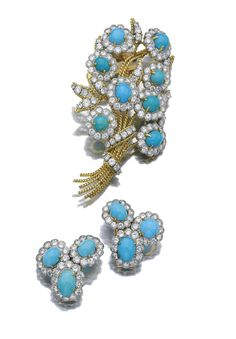 Turquoise and diamond brooch and pair of ear clips, Van Cleef & Arpels, 1970s | Lot | Sotheby's