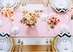 Pink and black wedding table inspiration
