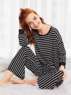971ad3b5a53 SheIn offers Striped Long Pajama Set   more to fit your fashionable needs.