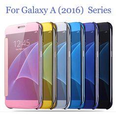 Für samsung galaxy a3 a5 2017 a8 a310 a3 a5 a7 2016 case luxus smart flip schlank anzeigen galvanik spiegel hard klar case abdeckung