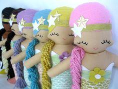 Molly Mermaid Cloth Rag Doll  MADE TO ORDER por rileyconstruction, $48.00