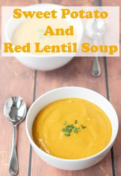 potato and red lentil soup is a delicious and easy recipe. This healthy vegan and gluten free soup is a perfect filler that never fails to please. via potato and red lentil soup is a delicious and easy recipe. This healthy vegan and g Vegetarian Recipes, Healthy Recipes, Healthy Meals, Healthy Food, Vegetarian Dinners, Top Recipes, Vegitarian Soup Recipes, Red Lentil Recipes Easy, Lentils