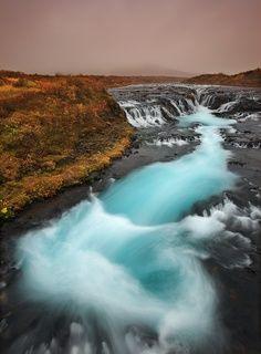 Autumn in Brúárfoss waterfall, Iceland