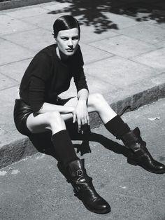 Super Normal Super Models - Saskia de Brauw - Sonia Rykiel; Anthony Vaccarello skirt; Fiorentini + Baker boots