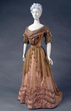 """Reception dress in two pieces, Jeanne Hallée, ca. 1905. Peach and yellow changeable silk taffeta, lace, pink silk satin ribbon, silk georgette. Philadelphia Museum of Art: """"This reception dress, which looks to the fashions worn during the reign of Louis XVI (1774-92), would have been worn to receive guests at home in the afternoon."""""""