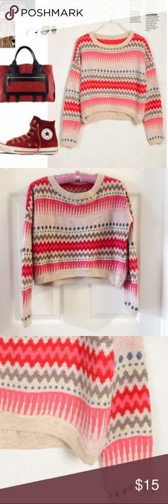 """Patterned sweater Material: acrylic. Size S. Bust around 42.5. Front length: 16-17"""", back length: 19.5"""" Sweaters"""