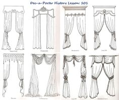 """Valances, Pelmets, Swags and Tails can provide a grand window dressing statement. These are the ultimate choice in creating """"Royal"""" formality or a deliberately causal and informal look. Curtain Styles, Curtain Designs, Drapery Styles, No Sew Curtains, Curtains With Blinds, Swags And Tails, Victorian Curtains, Classic Curtains, Pelmets"""