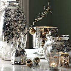 Mercury glass candle holders and vases