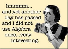 Very true! I am showing this to my BFF. She's homeschooled and the school gave her an advanced algebra book for senior year, the stuff she was learning her tutor was just learning, in college! Funny Shit, Haha Funny, Funny Stuff, Funny Things, That's Hilarious, Funny Math, Random Stuff, Hilarious Sayings, Fun Funny