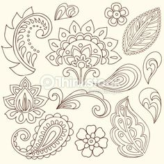 paisely tattoo pattern | Vector Art : Henna Doodle Paisley Design Elements