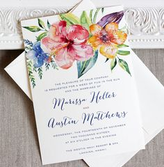 Tropical Hibiscus Watercolor Wedding Invitation Destination Island Wedding Floral