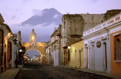 """Antigua, Guatemala with foot """"Volcan de Agua"""" or """"Volcano of Water"""" behind the town. Antigua is also a UNESCO World Heritage site. Places Around The World, Oh The Places You'll Go, Great Places, Places To Travel, Beautiful Places, Places To Visit, Around The Worlds, Wonderful Places, Amazing Places"""