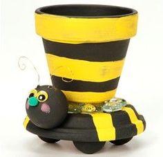 Bumblebee Clay Pot Planter