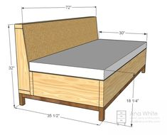 Architecture: Sofa Frame Plans Contemporary Ana White Storage DIY Projects For 3 from Sofa Frame Plans Diy Sofa, Diy Storage Sofa, Storage Bench Seating, Sofa Bed, Blanket Storage, Sectional Sofa, Furniture Storage, Futon Bedroom, Corner Storage