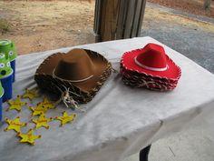 Toy Story Woody & Jessie Hats, made from Dollar Tree Foam hats, ribbon & yarn.