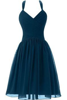 Sunvary New Short Chiffon Halter Graduation Junior Bridesmaid Homecoming Dress Size 2- Teal