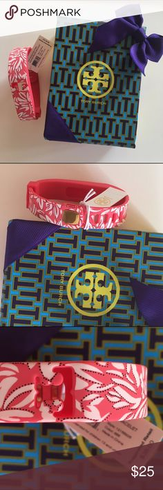 NWT tory burch fitbit bracelet Tory burch Bright orange with white leaves pattern fitbit silicon bracelet. New in box with tag attach. Price firm. Size M/L & XS/S Tory Burch Accessories Tablet Cases
