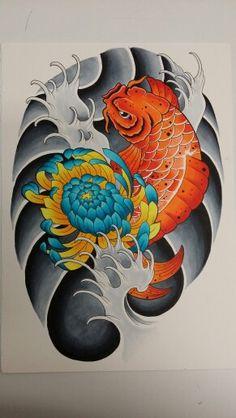 Koi y crisantemo estilo oriental. Entintado y rotuladores