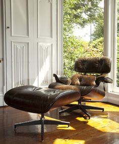 this chair. one day. {distressed leather eames chair}