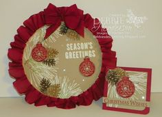 Stampin' Up! Ornament Pine. Altered Embroidery Hoop. Debbie Henderson, Debbie's Designs.