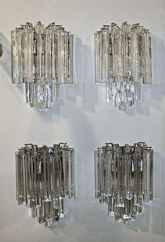 Set of Four Venini Italian Triedi Glass Wall Sconces image 3 0 in. (25 cm) WIDTH:13 in. (33 cm) DEPTH:6 in. (15 cm)