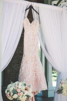 Blush lace wedding dress with tin beaded straps {Brittani Elizabeth Photography}