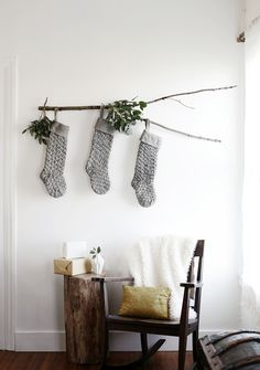 If you're looking for a more creative place to hang your stockings this year – or maybe like us, you don't even have the fireplace/mantle option – this stocking display is a fun alterna…
