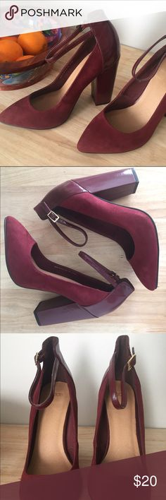 ASOS  perfect dark cherry ankle strap heels New with no tags! Only tried on red / maroon ankle strap block heeled, closed toe ASOS exclusive heels - fantastic condition! These heels are perfect for any size 4 ASOS Shoes Heels
