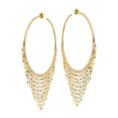 Lana Yellow Gold Large Fringe Hoop Earrings (€2.035) ❤ liked on Polyvore featuring jewelry, earrings, gold chain earrings, gold jewellery, post back earring, gold post earrings and gold jewelry
