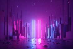 3d abstract neon background, glowing ultraviolet vertical lines, cyber space, urban scene in virtual reality, empty street in fantastic city skyscrapers under the night sky, post apocalyptic concept - Civil + Structural Engineer magazine