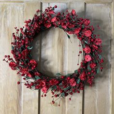 Christmas Red Berry and Flower Wreath