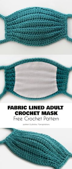Fabric Lined Adult Face Mask Free Crochet Patterns Fabric Lined Adult Face Mask Free Pattern Crochet Mask, Crochet Faces, Free Crochet, Knit Crochet, Crochet Fabric, Crochet Chain, Diy Mask, Diy Face Mask, Face Masks