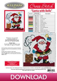 Winter Collection Santa with Bells; free cross stitch pattern from Sullivans