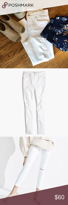 """Madewell White 9"""" High Riser Skinny Crop Size 28 Exceeded used condition from Spring/Summer 2017. Distressing adds interest and breaks up the white. Super flattering!! No stains or discoloration. Selling because they no longer fit me! Madewell Jeans Skinny"""