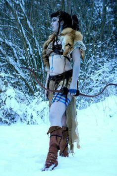 """The label this originally had was """"Viking women"""" but this is so obviously a Celt that it's painful. And why is she not wearing anything practical? SNOW IS PRESENT WHY NOT CLOTHING Warrior Queen, Warrior Girl, Fantasy Warrior, Warrior Princess, Fantasy Costumes, Cosplay Costumes, Skyrim, Barbarian Costume, Poses"""