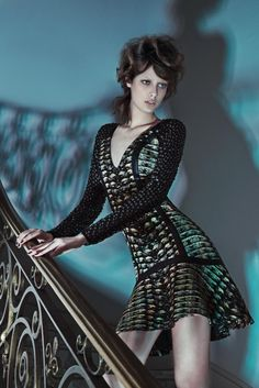 Thairine Garcia turns up the glam for Brazilian brand Iodice's fall 2013 campaign. With art direction by Daniel Burman, the brunette poses for Karine Basilio's lens in images which evoke a seductive mystery. Renata Correa styles Thairine in the autumn season's snake-skin prints, leather and sheer cutouts. / Set design by Mangaba Prod, Beauty by Daniel Hernandez