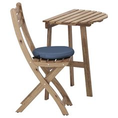 ASKHOLMEN Wall table & folding chair, outdoor IKEA The cushion has a longer life because it can be turned over and used on both sides. Ikea Outdoor, Outdoor Folding Chairs, Outdoor Tables And Chairs, Small Outdoor Spaces, Outdoor Dining Furniture, Chair Pads, Chair Cushions, Acacia, Wall Table Folding