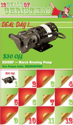 Homebrew Finds: 12 Deals of Christmas Day One - $30 off March High Flow Pump