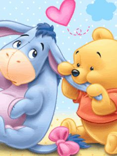 """Baby Winnie the Pooh Chewing on Baby Eeyore's Ear. """"Winnie the Pooh and Friends"""" Pooh Baby, Cute Winnie The Pooh, Winne The Pooh, Winnie The Pooh Quotes, Winnie The Pooh Friends, Eeyore Quotes, Wallpaper Iphone Disney, Cute Disney Wallpaper, Cute Cartoon Wallpapers"""