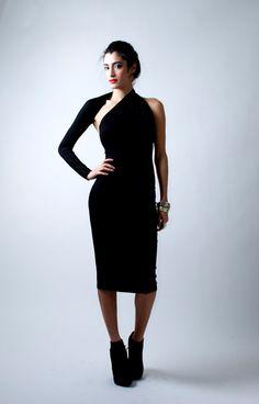 Unieke Black een schouder jurk