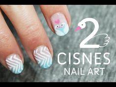 Uñas decoradas con cisnes paso a paso | Tutoriales de Nail Art - YouTube