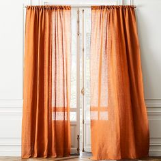 pure linen elegantly, effortlessly filters light in fashion-forward copper hue. Full-length curtain panel flows long to floor or hems easily from overlock stitching at edge. Leaf Curtains, Orange Curtains, Black Curtains, Boho Curtains, Floral Curtains, Velvet Curtains, Colorful Curtains, Bedroom Curtains, Patterned Curtains