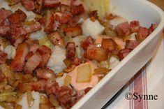 ganske enkelt: Fisk i form med løk og bacon Potato Salad, Cauliflower, Healthy Lifestyle, Bacon, Vegetables, Eat, Ethnic Recipes, Food, Image