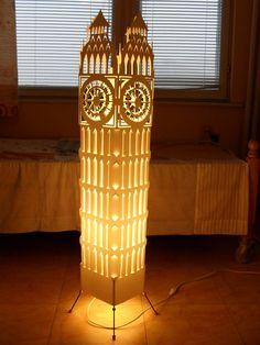 Big ben clock tower/ Floor lamp/ Lampshade/ Night by GalliniDesign