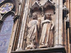 The statues of Edward I and Eleanor of Castile on the outer south wall of the east end of the Lincoln  cathedral. Edward and Eleanor had been present at the consecration of the new east end in 1280.
