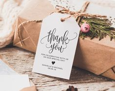 Thank You Tag Wedding Thank You Tags Gift by BlissPaperBoutique
