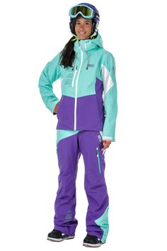 Picture Organic Clothing Women's Snowboarding/Ski Jacket, Seen Jkt Purple Water Green White High spec technical female specific snow wear. Features:...