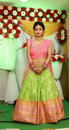 Check out the web above simply press the link for more options ~ crepe sarees Lehenga Designs, Half Saree Designs, Saree Blouse Designs, Half Saree Lehenga, Kids Lehenga, Anarkali Dress, Lehenga Blouse, Bridal Silk Saree, Bridal Lehenga Choli