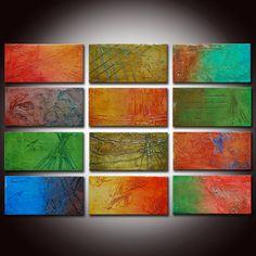 Original Abstract Painting Mixed Media Colorful by BuyWallArt